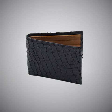 Black Laser Cut Leather Wallet With Tan Suede Interior - justwhiteshirts