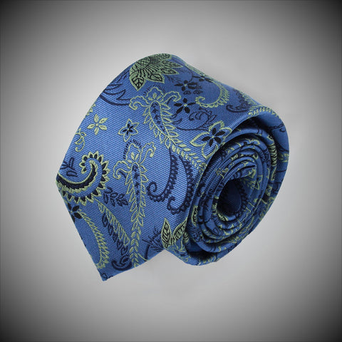 Blue Ground With Green Black Paisley Pattern Woven Silk Tie - justwhiteshirts