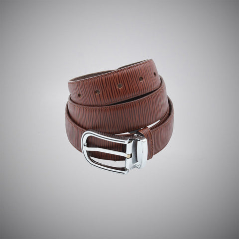 Brown Line Leather Belt - justwhiteshirts