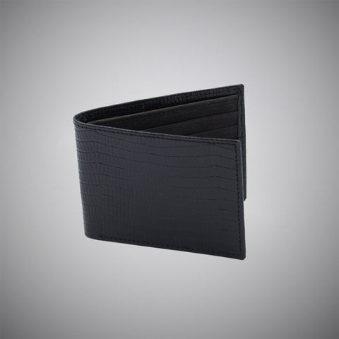 Black Lizard Skin Embossed Calf Leather Wallet With Black Suede Interior - justwhiteshirts