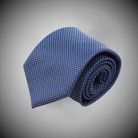 Blue Ground With White Dots Woven Silk Tie - justwhiteshirts