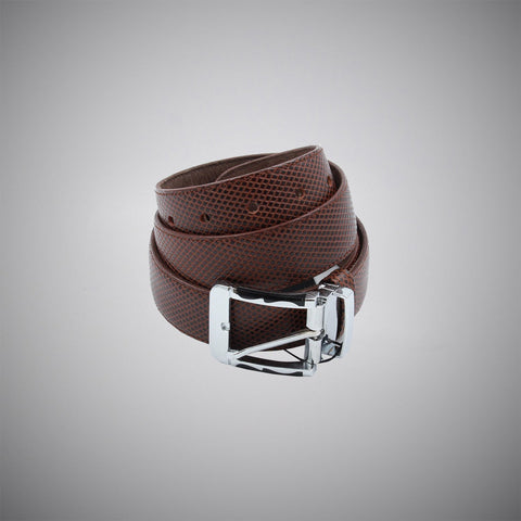 Dark Brown Checks Leather Belt - justwhiteshirts