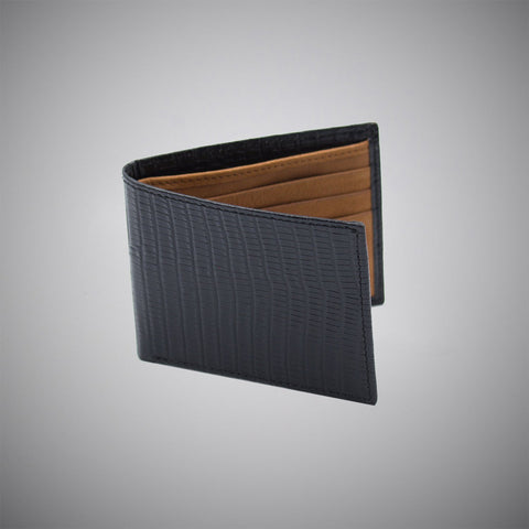 Black Lizard Skin Embossed Calf Leather Wallet With Tan Suede Interior - justwhiteshirts