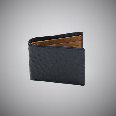 Black Ostrich Skin Embossed Calf Leather Wallet With Tan Suede Interior - justwhiteshirts