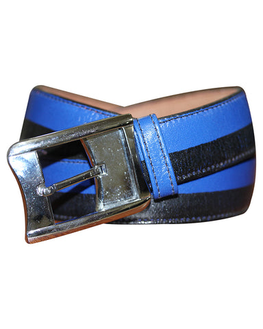 C&C Black And Blue Leather Belt