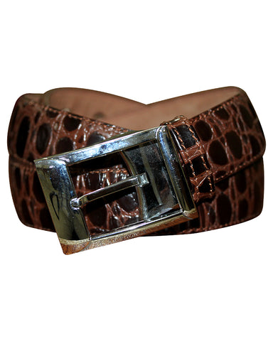 C&C Brown Crocodile Leather Belt