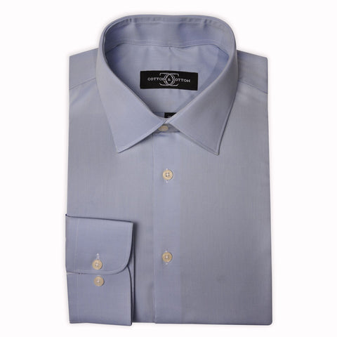 Dress Shirt Sky Blue Dobby Self Stripe with Modified Collar and Barrel Cuff Egyptian Cotton Shirt for the Office or a formal event