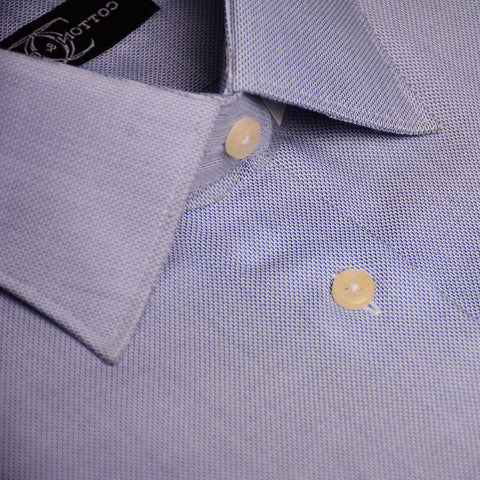 Dress Shirt mid blue Royal Oxford in Modified Collar and Barrel Button Cuff Egyptian Cotton Shirt for the Office