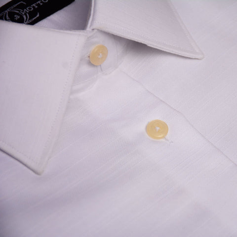 Dress Shirt White Dobby weave in Modified Collar and Cutt Button Cuff Egyptian Cotton Shirt for the Office or a formal event
