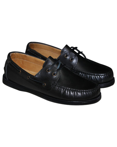 Leather C&C Royal Black Casual Boat Shoes