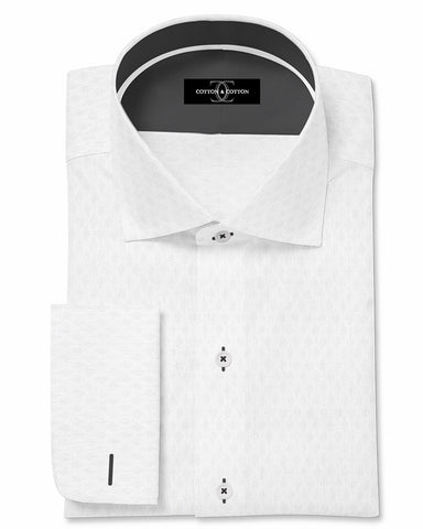 Pure Egyptian Cotton White Diamond Textured Shirt F.17.0766