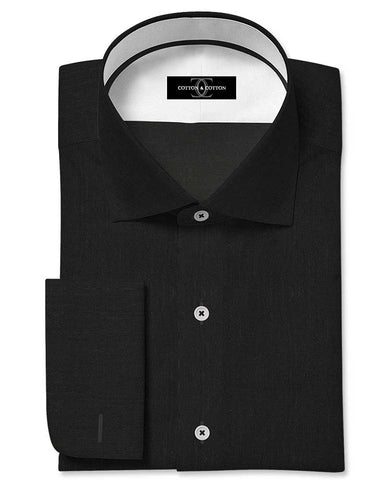 Pure Egyptian Cotton Solid Black Shirt F.17.0780