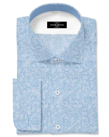 Pure Egyptian Cotton Blue Textured Shirt F.17.0881