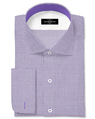 Pure Egyptian Cotton Purple Doted Shirt F.17.0978