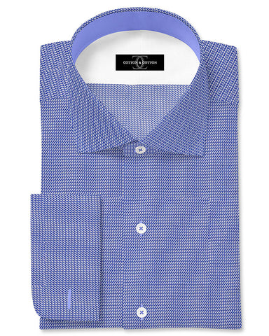 Pure Egyptian Cotton Blue Textured Shirt F.17.0981