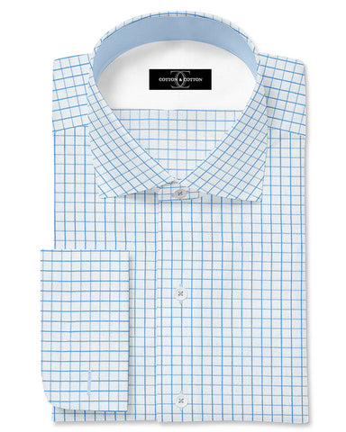 Pure Egyptian Cotton Blue and White Check Shirt F.17.0985