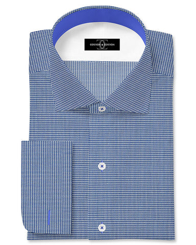 Pure Egyptian Cotton Blue Textured Shirt F.17.0987