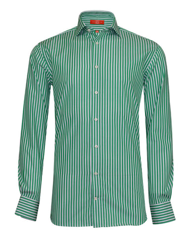 Pure Cotton Green Stripe Formal Shirt