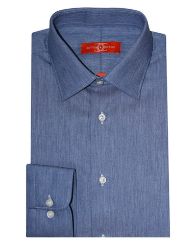 Pure Cotton Solid Blue Formal Shirt