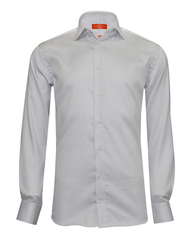 Pure Cotton Texured Grey Stripe Formal Shirt