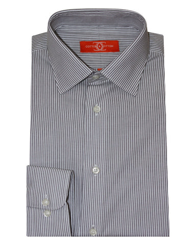 Pure Cotton Grey Stripe Formal Shirt