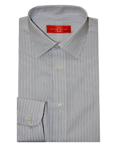 Pure Cotton Stripes Navy Formal Shirt