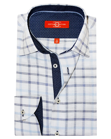 Pure Cotton Black Check White Casual Shirt