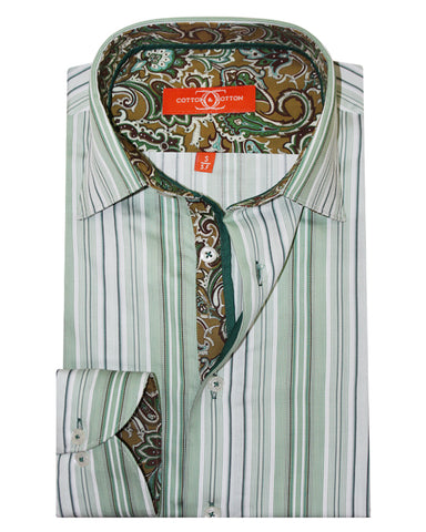 Pure Cotton Green Stripe Casual Shirt