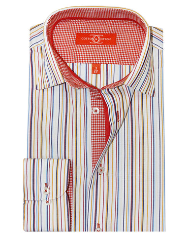 Pure Cotton Multi Stripe Red Houndstooth Casual Shirt