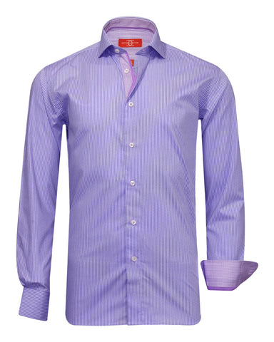 Pure Cotton Purple Houndstooth Casual Shirt