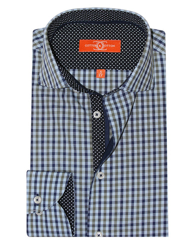 Pure Cotton Navy Check Casual Shirt