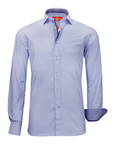 Pure Cotton Blue Doted Houndstooth Casula Shirt