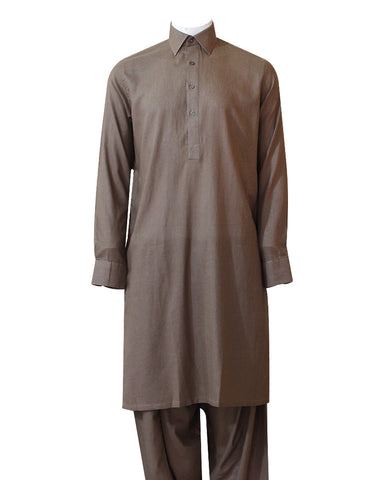 C&C Royal Light Brown Silk Cotton Kameez Shalwar