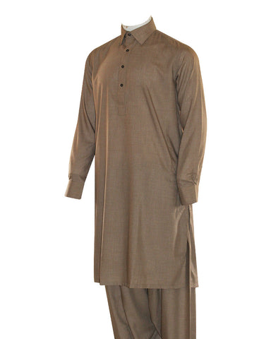 Poly Viscose Orange Label Light Brown Kameez Shalwar