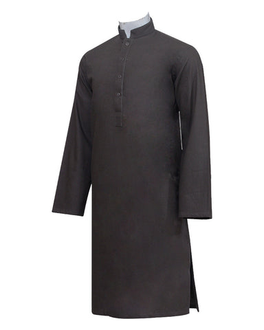 Pure Cotton Royal Brown Band collar Sleeve Kurta