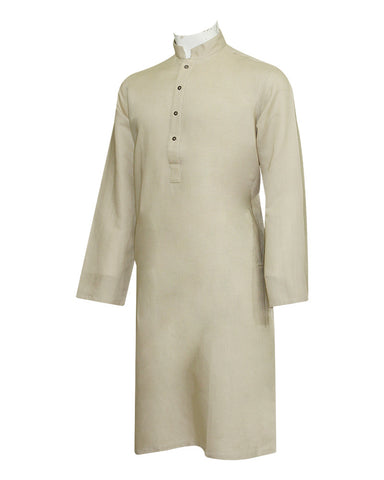 Pure Cotton Royal Coffee Band Collar Kurta
