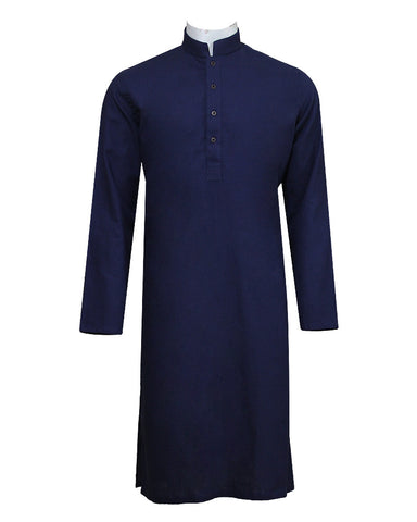 Pure Cotton Royal Navy Band Collar Sleeve Kurta
