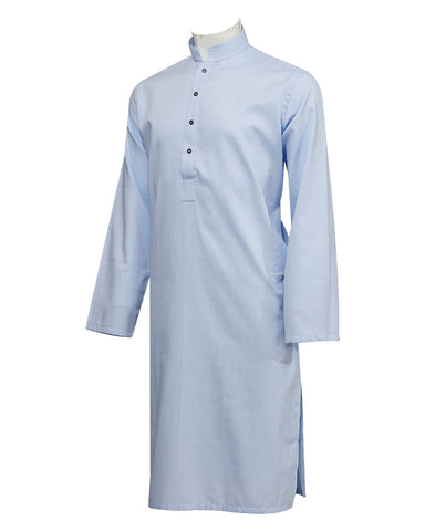 Pure Cotton Royal Sky Band Collar Kurta