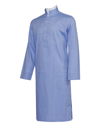 Pure Cotton Royal Blue Band Collar Sleeve Kurta
