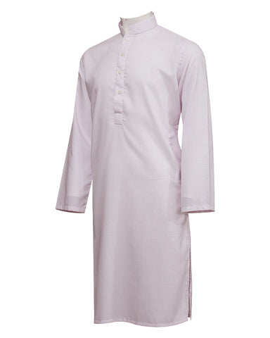 Pure Cotton Royal Pink Band Collar Sleeves Kurta