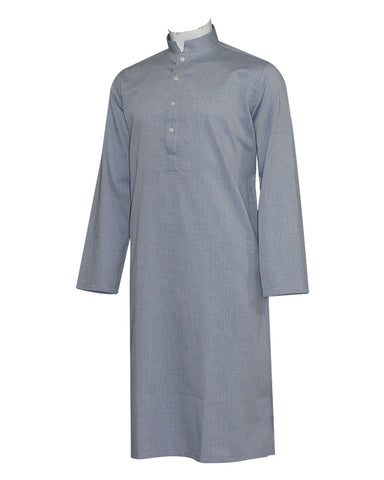 Pure Cotton Royal Navy Band Collar Sleeves Kurta