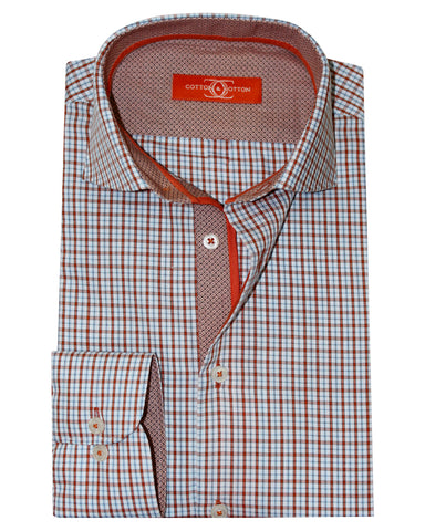 Pure Cotton Orange Label Apricot Orange Check Casual Shirt