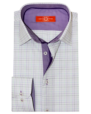 Pure Cotton Orange Label White Check Casual Shirt
