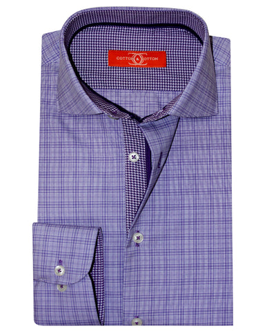 Pure Cotton Orange Label Lilac Check Casual Shirt