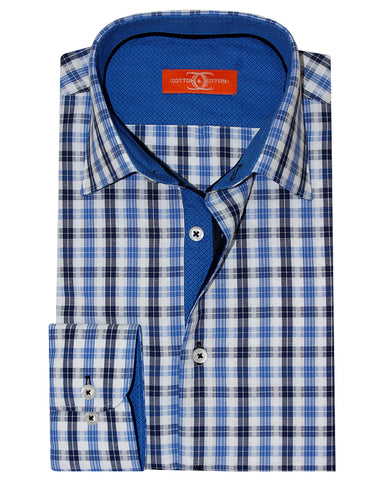 Pure Cotton Orange Label Navy Blue Check Casual Shirt