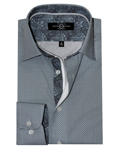 Pure Cotton Micro Flintstone Paisley Casual Shirt