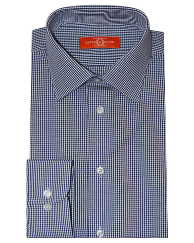 Pure Cotton Navy Blue  Check Formal Shirt
