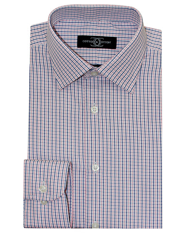 Pure Cotton Red Check Formal Shirt