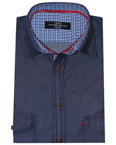 Cotton & Cotton Solid Blue Casual Denim Shirt