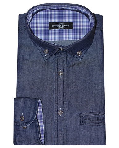 Cotton & Cotton Solid Blue Button Down Casual Denim Shirt